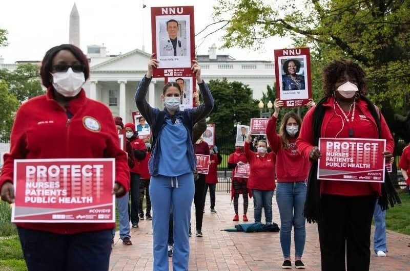 A majority of US nurses have never had a COVID-19 test, and have had to re-use PPE like face masks, according to a survey of 23,000
