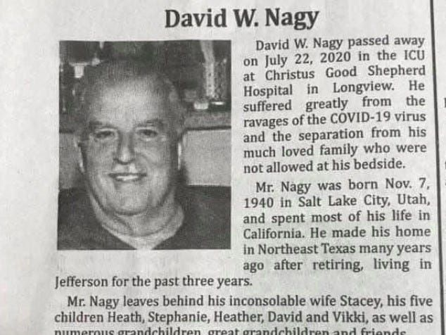 An impassioned obituary for a 79-year-old coronavirus victim blames Trump for his death, then calls out Texas Gov. Greg Abbott and people who refused to wear masks
