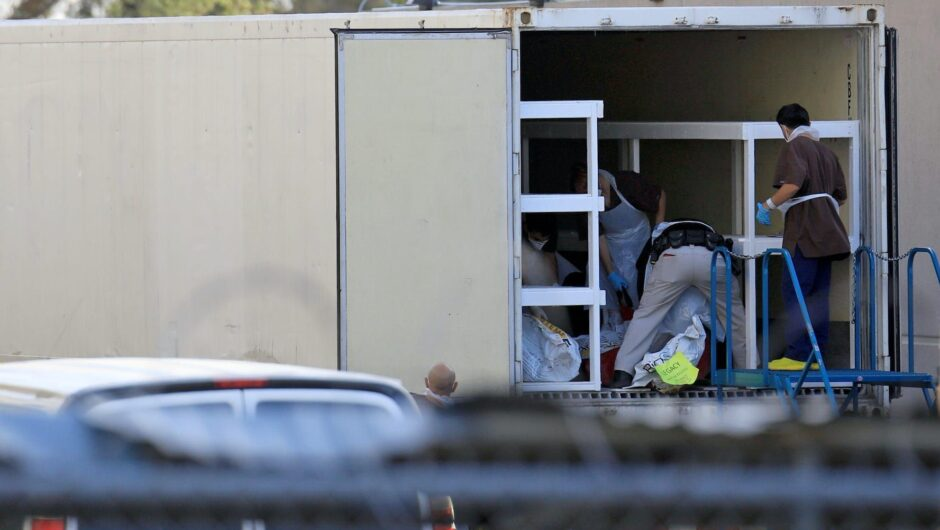 Photos show El Paso using refrigerated trucks in parking lots to store a backlog of bodies from a new COVID-19 surge