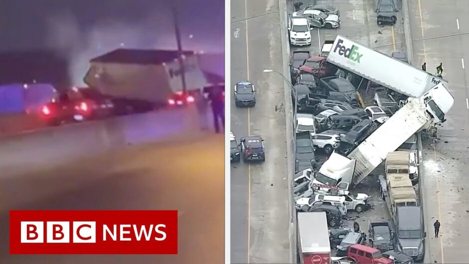 Driver captures deadly 100-vehicle Texas pile-up – BBC News