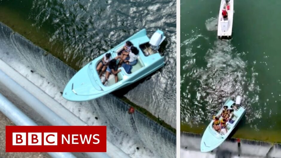 Boaters have a close call with a Texas dam – BBC News